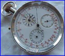 Smith & Son Chronograph Rattrapante Pocket Watch Silver Case 54,5 mm in diameter