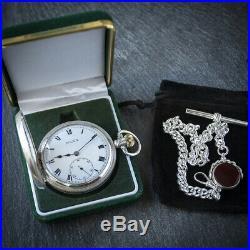 Sterling Silver Rolex Half Hunter Pocket Watch with Albert Chain + Case