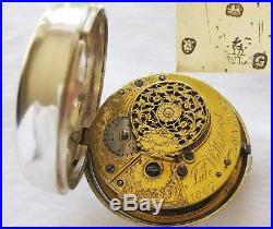 Sterling silver pair case verge fusee Pocket watch Jasper Williams London 1802