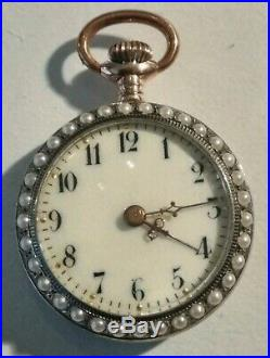 Super Nice Mint Swiss Red Enameled Pearl inlayed watch 800 silver case (1900'S)