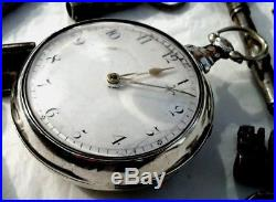 Superb late 18thC verge fusee silver pair cased pocket watch