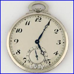 Swiss Platinum High Grade Ultra Thin Diamond Case & Bow Pocket Watch 18-19j 42mm