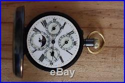 Swiss Triple Calendar with Moonphase Pocket Watch, Gunmetal Case Pocket Watch