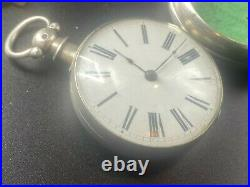 Thomas Bell Verge Fusee Pocket Watch Sterling Silver Pair Case, running strong
