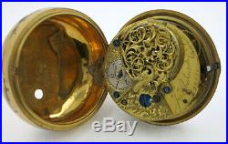 Underpainted horn pair cased verge pocket watch, c1770
