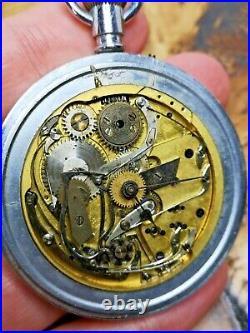 Unusual English Pocket Watch in Custom Case, Chronograph Working! (P111)