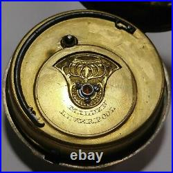 Verge Fusee Milden Liverpool Pocket Watch Movement Case for parts or repair