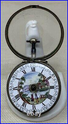 Verge Fusee Pocket Watch 1780 by J. Wilders London Silver Case Scenic Dial