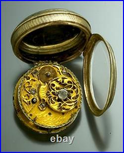 Verge Fusee Pocket Watch with Chatelaine Outer Embossed Cherub Case Antique 1750