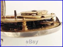 Verge fusee Pure silver NORTON LONDON open face Case Pocket Watch No