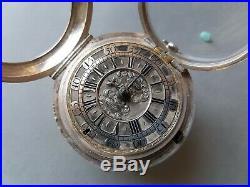 Verge fusee circa 1700 pair cased silver pocket watch montre coq spindeluhr