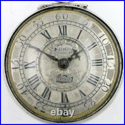 Verge pocket watch, silver pair cases, champleve dial London, c1700