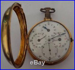 Very Rare Regulator Dial Moonphase & Date P/ Case Watch Verge Fusee