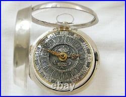 Very nice Silver pair cased verge fusee Pocket Watch J. Wilson London ca 1700