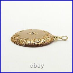 Victorian 14k Gold Pocket Watch Case Lid Diamond Custom Made Charm Pendant 4gr