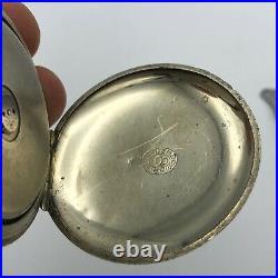 Vintage Antique Hebdomas 8 Day Pocket Watch Swiss Nickel Case 1910s Open Face