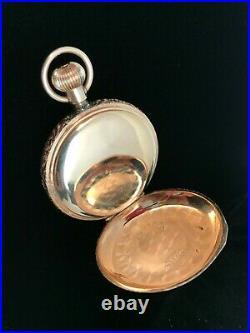 Vintage Antique Seth Thomas 14K Rose Gold Hunt Case Pocket Watch