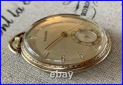 Vintage Bulova Pocket Watch, 17AH Swiss, 17 Jewels, 10k RGP Case, Runs Nicley