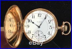 Vintage Elgin Father Time 14k Yellow Gold Hunter Case Railroad Pocket Watch 21J