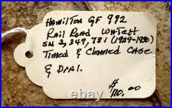 Vintage Hamilton Pocket Watch Railroad Grade 992 21j 16s Gold Filled Case C. 1925