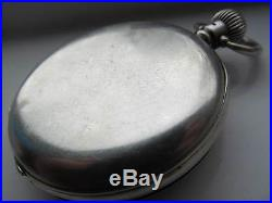 Vintage open faced silver cased Rolex pocket watch