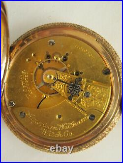 WALTHAM 18S B. W. C. Co 14K POCKET WATCH CASE WITH STAG ELK MADE 1901 FANCY DIAL
