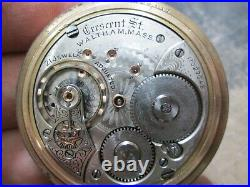 WALTHAM 21J RAILROAD LARGE SIZE CASE RUNNING CRESENT STREET Pocket Watch 54mm