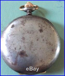 WW1 period Swiss gun metal cased chronometer pocket watch