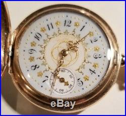 Waltham 0S. 11 jewels fancy dial (1893) 14K. Gold Filled Diamond Hunter Case