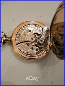 Waltham 0S. 15 jewel mint fancy dial 14K. Multi-color diamond double hunter case