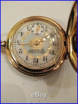 Waltham 0S. (1893) 11 jewel great fancy dial 14K Double hunter case restored