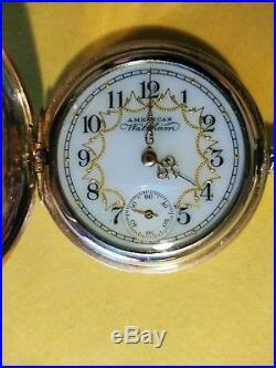 Waltham 0S. (1898) 7 jewels fancy dial 14K. Gold filled hunter case restored