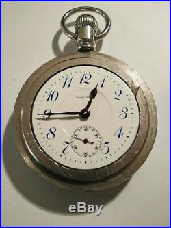 Waltham 18 size 21 jewels grade 845 (1910) giant silverode case railroad watch