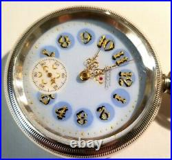 Waltham 18S. Super fancy dial 15 jewel adj. (1892) 4oz. Waltham coin silver case