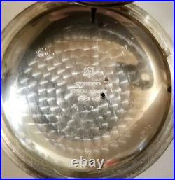 Waltham 18S Vanguard 21 jewel adj Diamond end stones coin silver locomotive case
