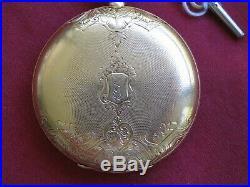 Waltham Appleton Tracy 15j 18s Key Wind 18k Gold Hunting Case Pocket watch