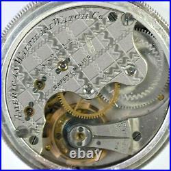 Waltham Hunter 13j Pocket Watch in Waltham Coin Silver Case Size 6s Circa 1888