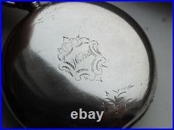 Waltham Pocket Key Wind Watch Home Watch Co. 11j Coin Silver Heavy Case Runs