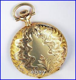 Waltham Spectacular 14k Gold Hunting Case 16 Size 21j Crescent St Pocket Wa