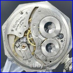 White Gold 1922 WALTHAM Pocket Watch 12s Grade 210 7 Jewels Octagon Case NICE