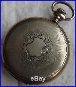 Zenith Pocket Watch Silver Case Open Face 49 mm. In diameter enamel dial
