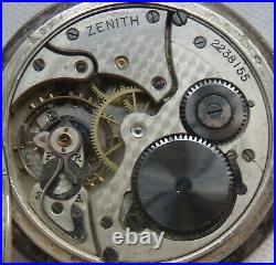 Zenith pocket watch siver hunter case load manual run but need service